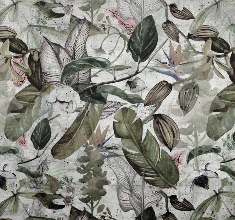 kalotaranis.gr-παράσταση τοίχου,τσιμέντο,λουλούδια,φύλλα