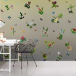 kalotaranis.gr-παράσταση τοίχου,λουλούδια,πεταλούδες,γεωμετρικά σχήματα