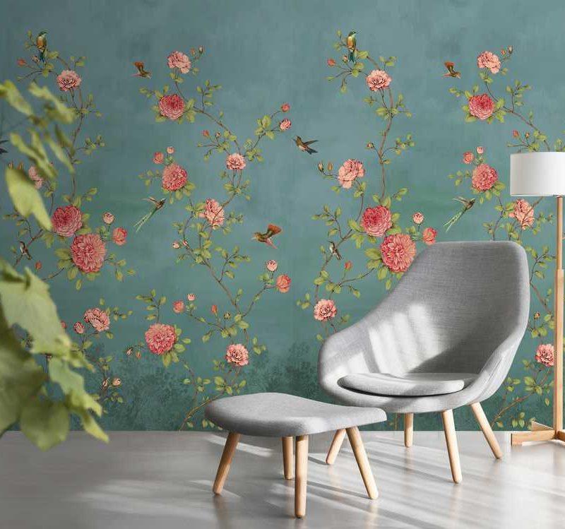 kalotaranis.gr-παράσταση τοίχου,τριαντάφυλλα,πουλιά