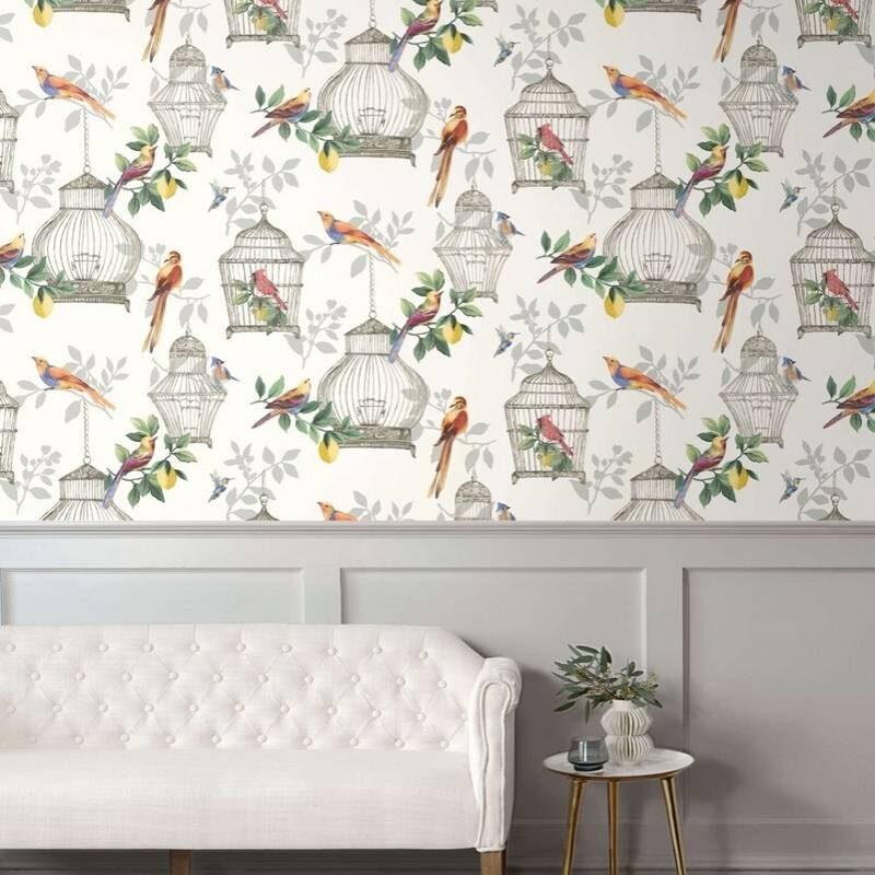 kalotaranis.gr-ταπετσαρία τοίχου,πουλιά,φύλλα,κλαδιά