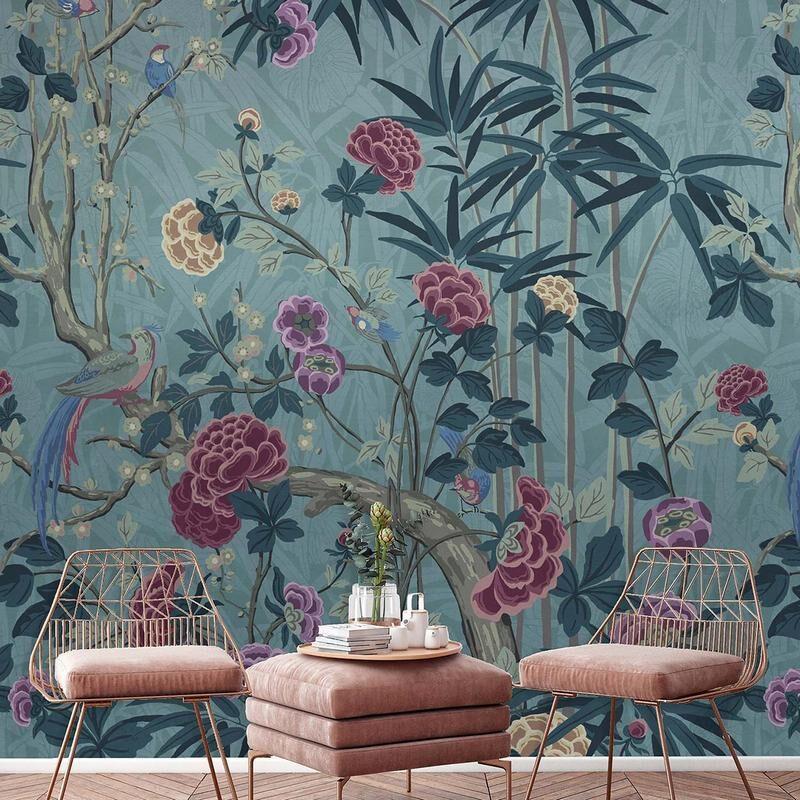 kalotaranis.gr-παράσταση τοίχου,λουλούδια,πουλιά